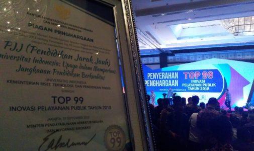 Pendidikan Jarak Jauh UI Raih Penghargaan Top 99 Inovasi Pelayanan Publik